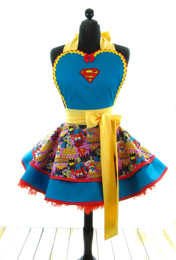 Retro Apron - SuperWoman Sexy Womans Aprons - Vintage Apron Style - Superwoman Pin up Pink Rockabilly Cosplay Lolita