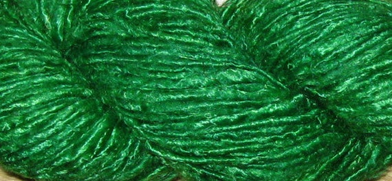 Handspun Recycled Banana Yarn, 130 yds Kelly Green, Fair Trade, 195 grams, 6.9 oz