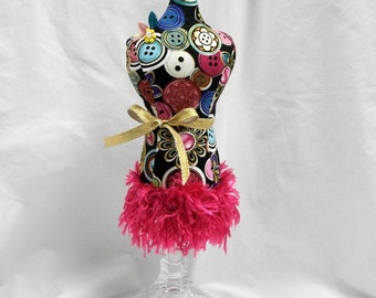 Mannequin Dress Form, Pincushion, Jewelry Stand, Pin Keeper, Upcycled Candle Holder
