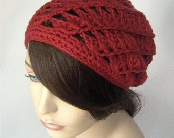 Slouchy Beanie Spiral Beanie Lightweight Hat Lacy Hat Cotton Beanie Rust Red Womens Hat Spring Hat Red Hat Lacy Crochet Hat- MADE TO ORDER