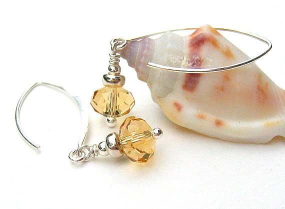 Citrine Yellow Glass Earrings, Crystal Beaded Earrings, Sterling Silver - FINO