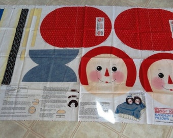 Vintage Raggedy Ann and Andy  fabric panels by Daisy Kingdom, makes two pillows