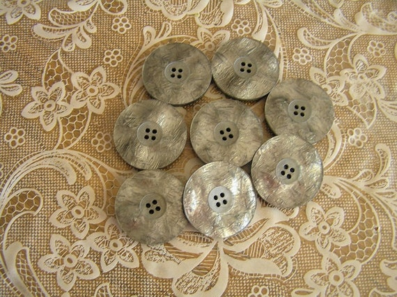 8 Luminescent Grey 4 Hole Large Buttons 1 1/8 inch
