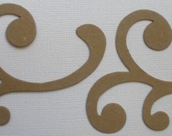 6 Beautiful Mini  FLOURiSH - Decorative Accent  - Raw CHiPBOARD Die Cuts