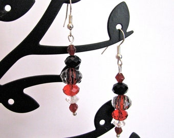Red and black striped crystal with Swarovski accents dangle earrings