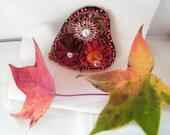 Romantic Bold Fall Colors Bead and Fiber Brooch