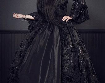 New Style Black Dahlia Fantasy Gothic Sparkle Antoinette Style Wedding Gown