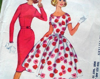 1950s Vintage Sewing Pattern - Junior Party Dress or Wiggle Dress - Mad Men - McCalls 5294 / Bust 31.5