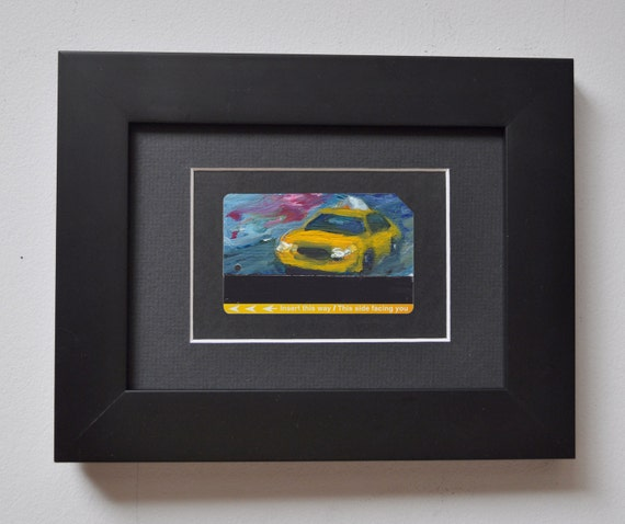 Art Oil Painting New York City Yellow Taxi Cab on Recycled NYC Subway Card