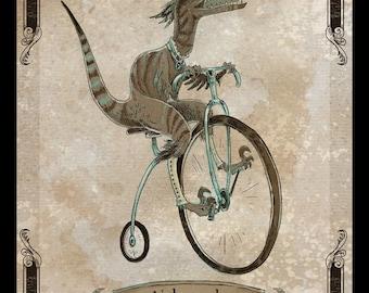 Velocipedor 11x14 steampunk dinosaur art poster