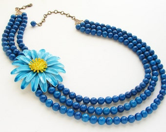 Teal Statement necklace, Beadwork, Vintage blue yellow daisy floral brooch, enamel flower statement beaded necklace