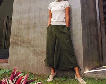 Wabi-Sabi...Pants  Dark green Linen/cotton  Capris lenght M,L,XL