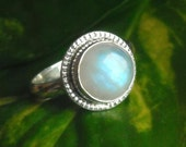 Rainbow Moonstone ring - Ethnic ring - Round ring - Artisan ring - Gemstone sterling silver ring - Gift for her