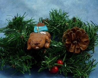 Xmas Beaver Ornament with Snowflake Tush, Handmade Christmas Decoration
