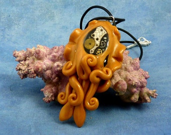 Brass Steampunk Cuttlefish Necklace, Polymer Clay Neo-Victorian Jewelry