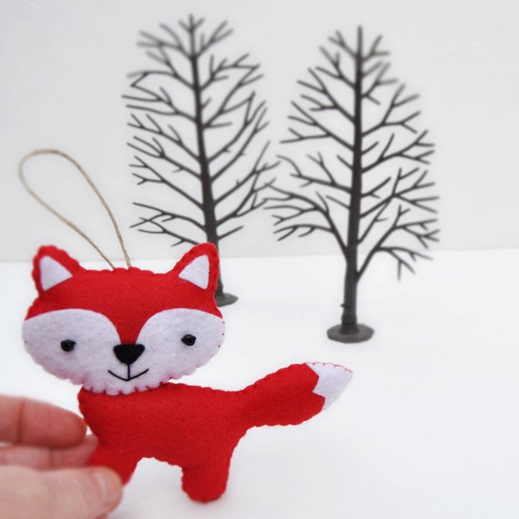 Christmas Ornaments For Baby Shower Favors : Friendly red fox christmas ornament baby shower party