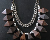 SALE - Geometric Wood Bib Necklace with Mixed Metal Chain