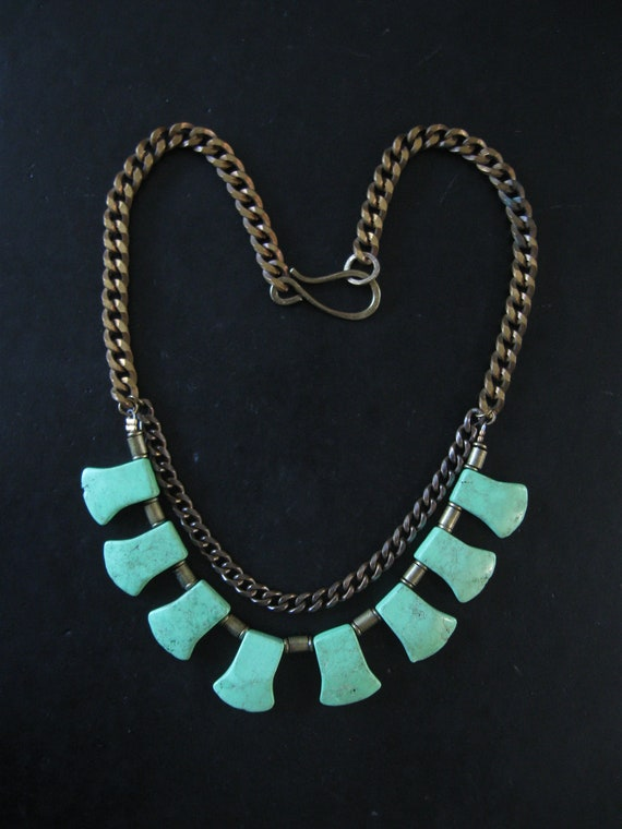 Urban Tribal Statement Necklace with Green Howlite Blade Beads and Vintage Brass