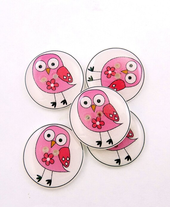Owl buttons. Pink Owls handmade buttons. 5 Buttons for Sewing.
