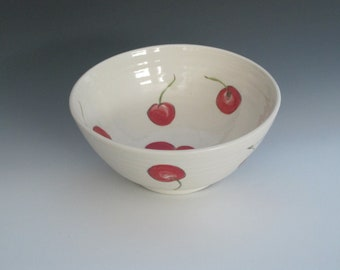 Pottery Serving Bowl with cherries