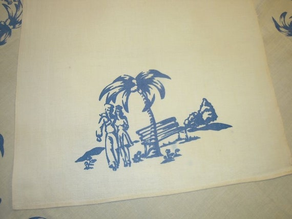 Vintage WWII Era Towel A Sailor and His Dame in Hawaii
