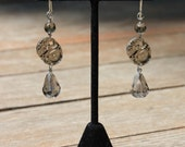 Sunrays of Steampunk Earrings - Shimmering Faceted Smoky Glass Teardrops
