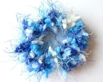 2 Blue Hair Scrunchies, Hair Scrunchies, Blue Bling, Crochet Hair Accessories, Ponytail Bands, Girls Hair Accessory, Set of 2