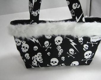 Skulls and Fur Bag - Skull Tote Bag - Large Bag - Fur Trim handbag - lighting bolt skull fabric - Skull bag