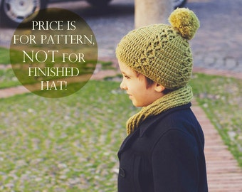 Instant download - Crochet hat PATTERN (pdf file) - Rhomb patterned Hat (sizes baby to adult)