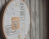she made paper - vintage linen, embroidered, mended, make do art - artinredwagons