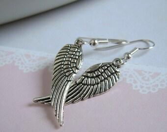 Large Silver Angel Wings Dangle Earrings
