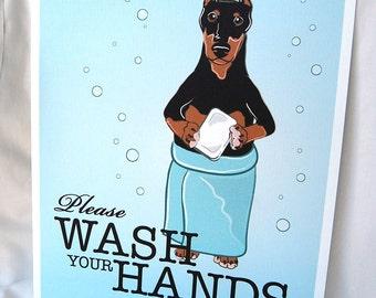 Wash Your Hands Doberman - 8x10 Eco-friendly Print