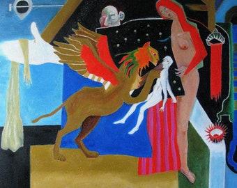"Oil Painting, original, mythological theme, ""Sphinx"", 24 x 24 ins, 60 x 60cm"