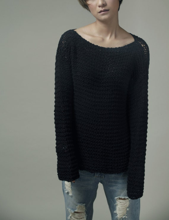 Simple is the best - Hand knitted sweater Eco cotton oversized black - ready to ship
