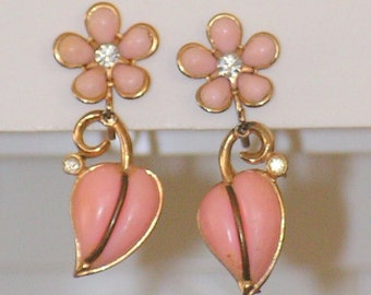 Vintage Dangle Earrings - Pink Thermoset Plastic Drop Earrings - Rhinestones Beads - Floral - Screw Back