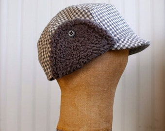 Flapjack XS: Warm earflap hat in gray houndstooth, winter cycling cap with ear flaps, gray wool hat for men women or kids, upcycled fabric