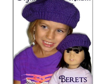 Hat Knitting pattern. Matching Girl and Doll Beret. 18 inch doll, children. PDF