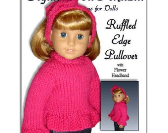 Knitting Pattern, fits American Girl and all 18 inch dolls, PDF Instant Download 042