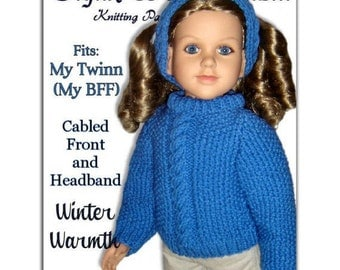 Knitting Pattern fits My Twinn (My BFF), 23 inch dolls. Cabled Front Sweater. PDF, 603