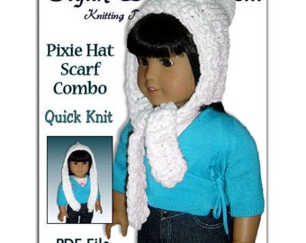 Knitting Pattern. Fits 18 inch, American Girl, Our Generation, Pixie Hat, Scarf Combo 106