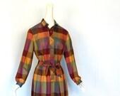 Vintage Autumn Dress / Buffalo Plaid / 1970s Dress / M L