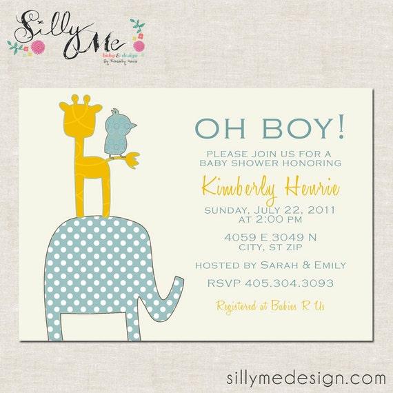 Zoo Animals- Custom Baby Shower invitation