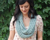 Loop Scarf in Seafoam // Long Knitted Blue-Green Infinity Scarf // Long Light Teal Circle Cowl