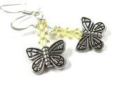 Silver Butterfly Earrings Sunny Yellow Swarovski Crystals Dangle Earrings
