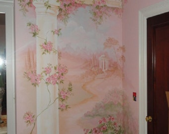 Estimate for Painted roses, custom murals, hand painted wall mural of roses, Pink Roses, Cottage chic Art, Cottage Chic Mural, Custom Mural