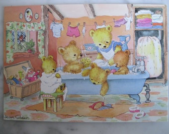 "Vintage Medici Society Postcard. Signed Jean Gilder. ""Teddies'Bath Time ."