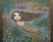 Original Mermaid Mixed Media Painting by Lisa Lectura