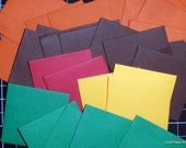 50 Mini Envelopes in Five Fall Hues Text Paper, Handmade PaperArt, Gift enclosures, Party Favors, Floral Cards, Scrapbook Ideas