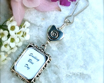 Wedding bouquet & memorial photo charm. Bridal bouquet charm with small picture frame and a Swirl heart .
