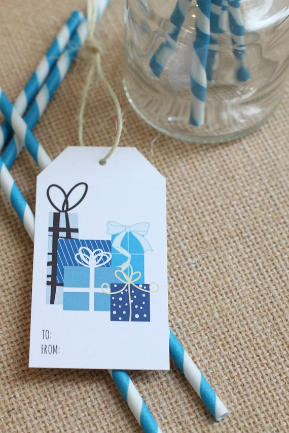 Blue Gifts Galore  - set of 5 holiday gift tags